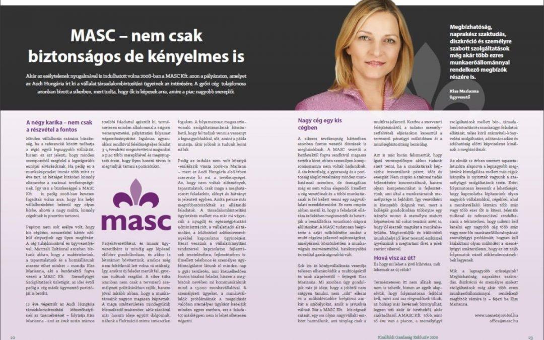 MASC – nem csak biztonságos, kényelmes is / Újságcikk